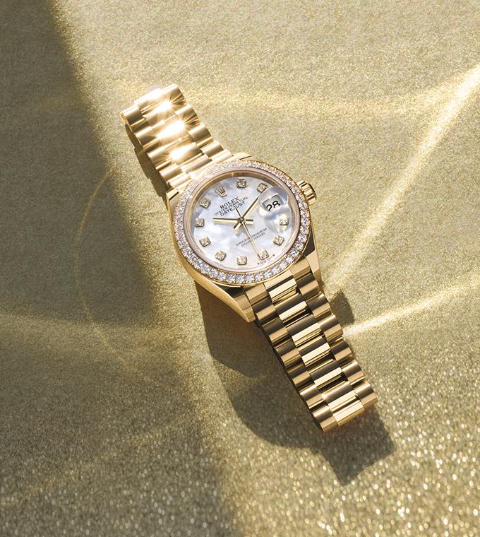 Lady-Datejust Oyster, 28 mm, Gelbgold mit Diamanten